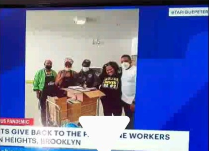 CCM tenants shown on TV news giving back to health care workers during COVID pandemic.